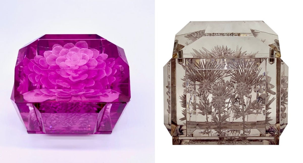 Image of Mini Victorian Lucite Box (Orchid Pink or Grey)