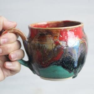 Image of Stoneware Coffee Mug in Multi Colored Glazes, Colorful Coffee Cup, 14 oz. Handmade in USA