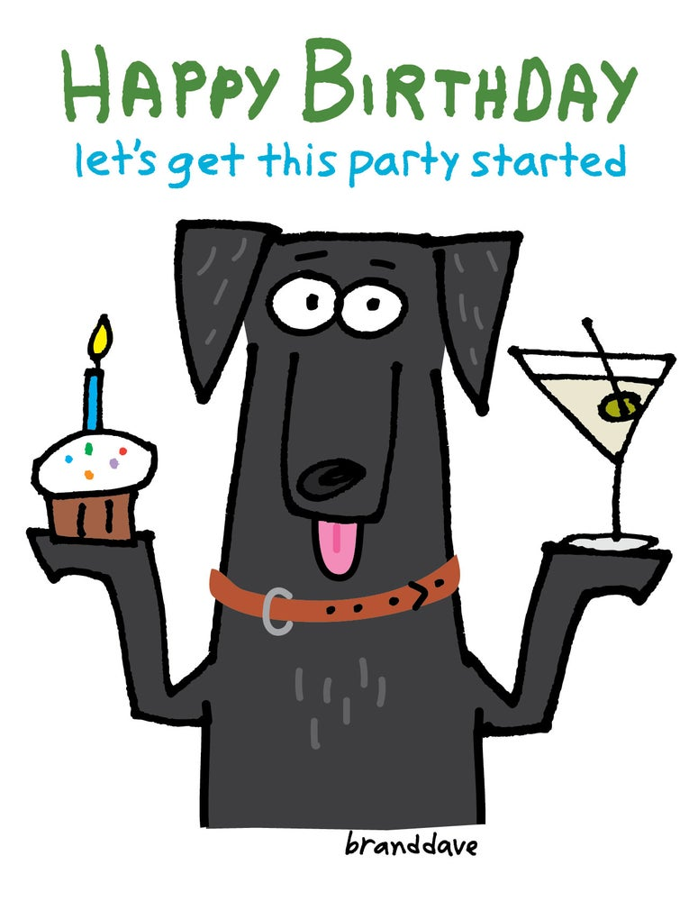 Image of Party Started Black Dog - Card
