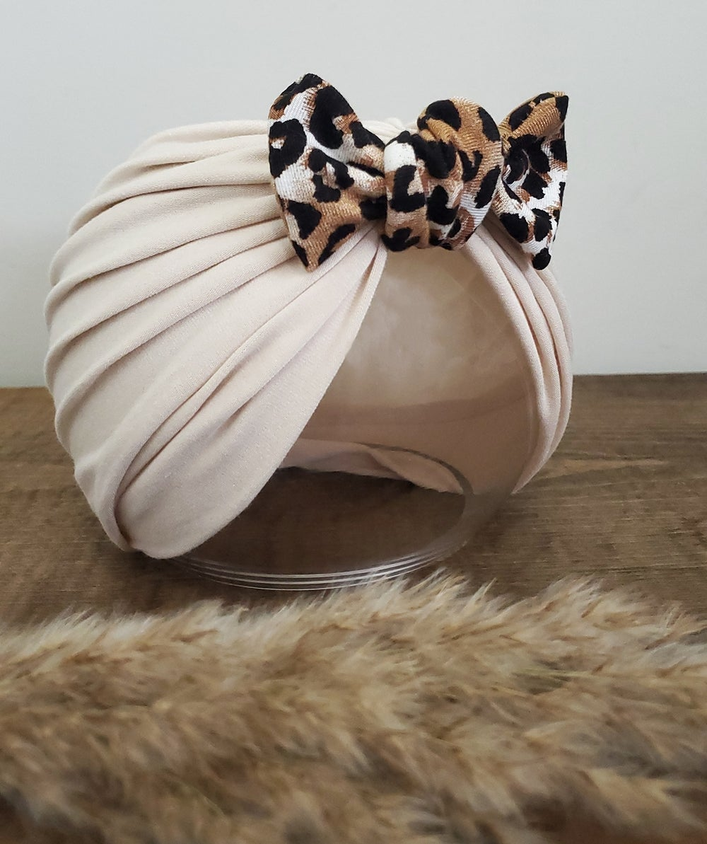 Image of Two-toned leopard bamboo bow turban