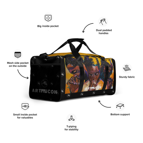 """Image of ARTBYJCON """"Lost In compliance"""" duffle bag"""