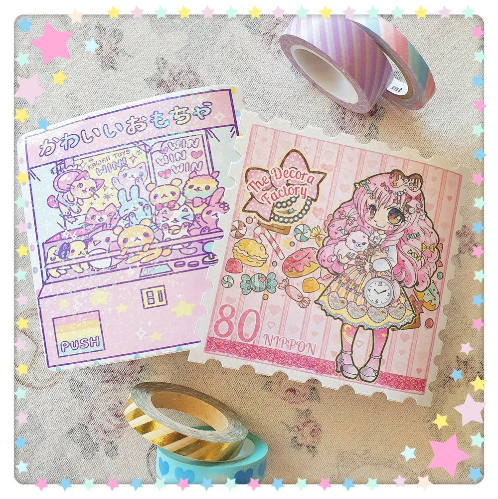 """Image of Sparkly Holographic Kawaii Vinyl Stickers - Large 10cm/4"""" size!"""