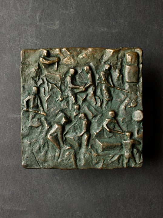 Image of Bronze Push-Pull Door Handle with Craftsmen Motif, Mid-20th Century European