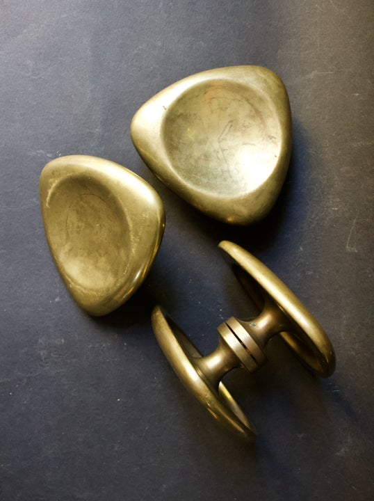Image of Two Sets of Large Triangular Push-Pull Door Handles, French
