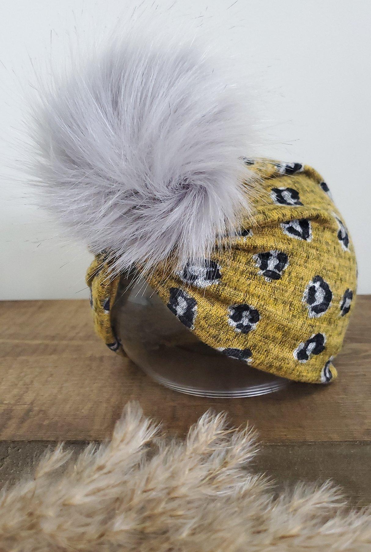 Image of Mustard leopard knit POM turban