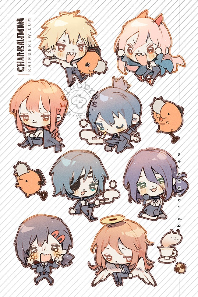 """Image of [PREORDER] *NEW* Chainsaw Man   4""""x6"""" Sticker Sheets"""