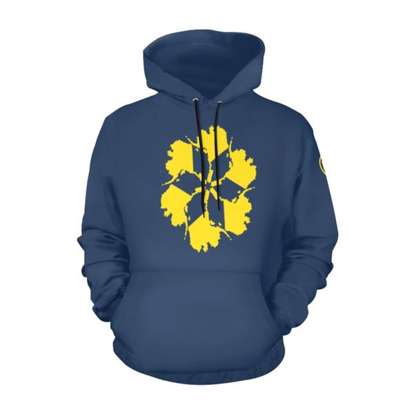 Image of AK Spiral OG Hoodie - Yellow on Navy