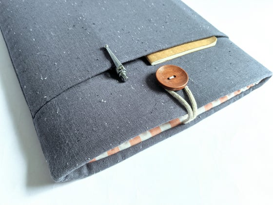 Image of Dolphin Blue Gray Speckled Linen Laptop Sleeve Case, Tablet, Kindle, Custom Sizes Made to Order