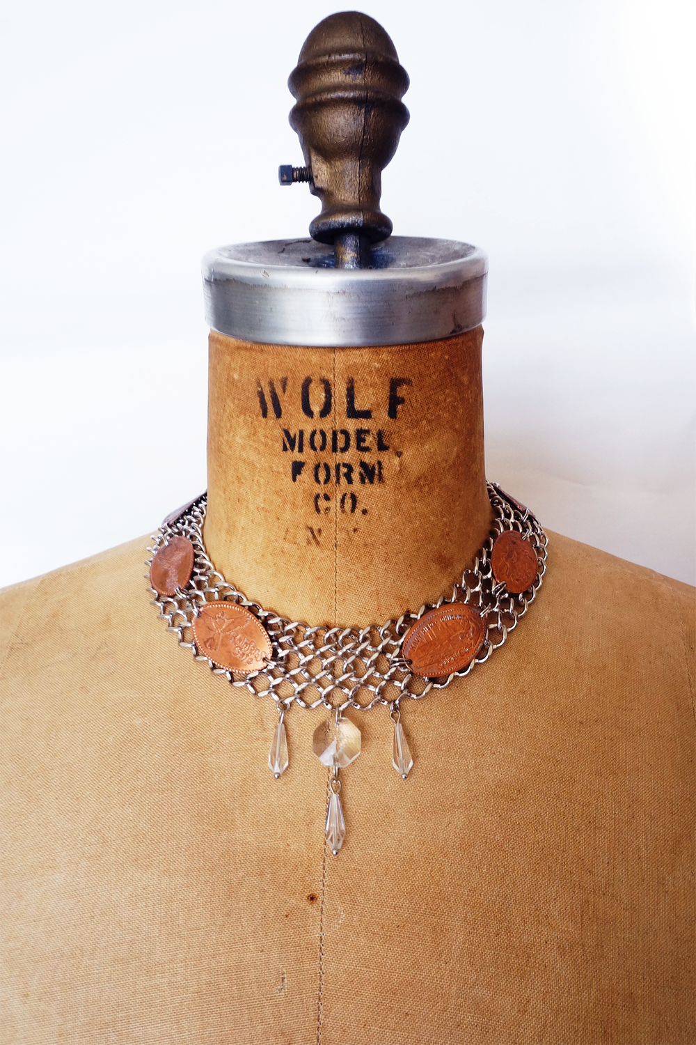 Image of Pressed Penny Chain Collar Necklace