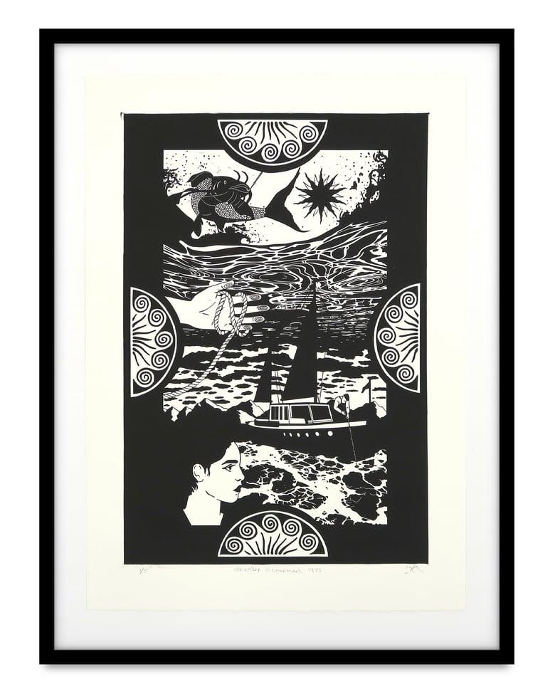 Image of Zephyr Larkin 'Greedy Fisherman, 1973'. Original work on paper 2021