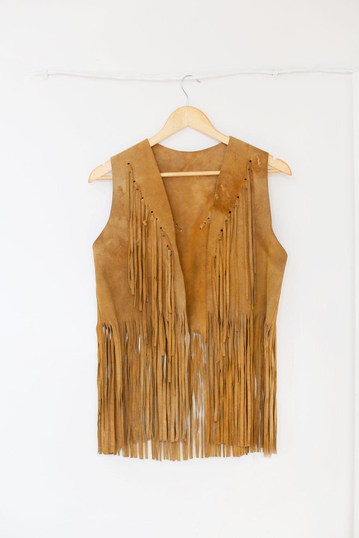Vintage Long Fringe Suede Vest