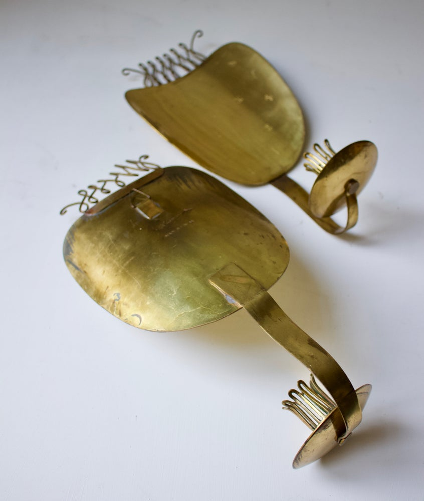 Image of Pair of Brass Candle Sconces by Väinö Hamara, Finland