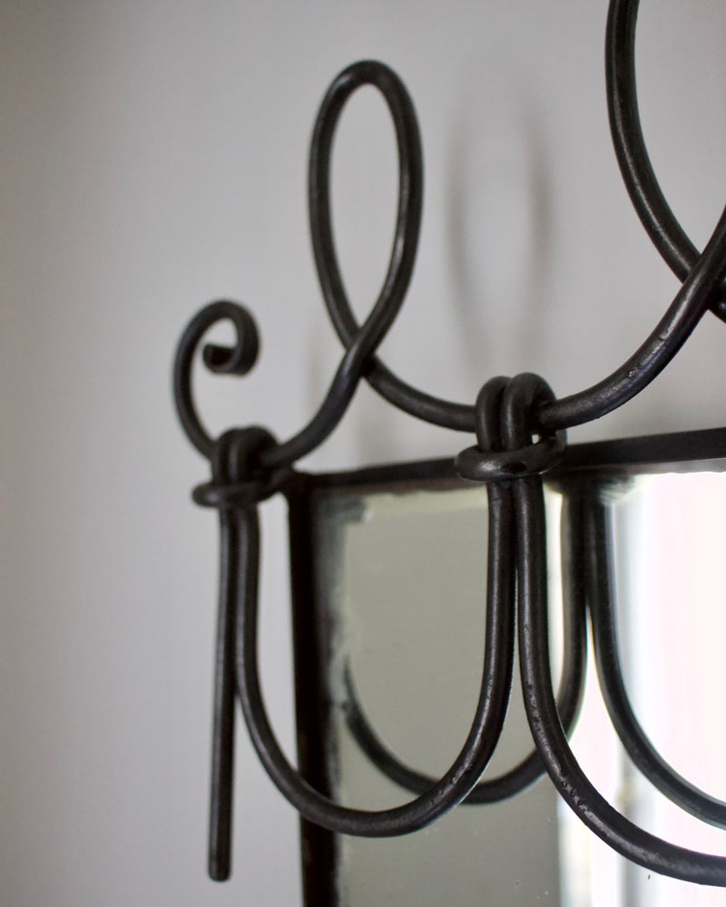 Image of Italian Wall Mirror with Looped Metal Frame