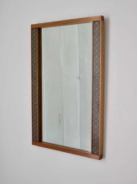 Image of Teak Wall Mirror by Hans-Agne Jakobsson, Åhus Sweden, 1950s