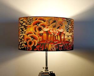 Image of Mushrooms Drum Lampshade by Lily Greenwood (45cm, Floor/Standard Lamp or Ceiling