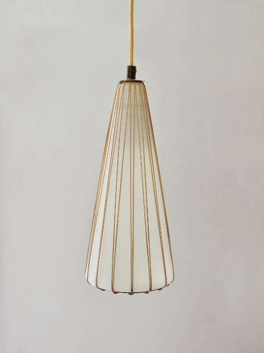 Image of Glass Pendant Light with Rattan & Brass Details by Idman, Finland