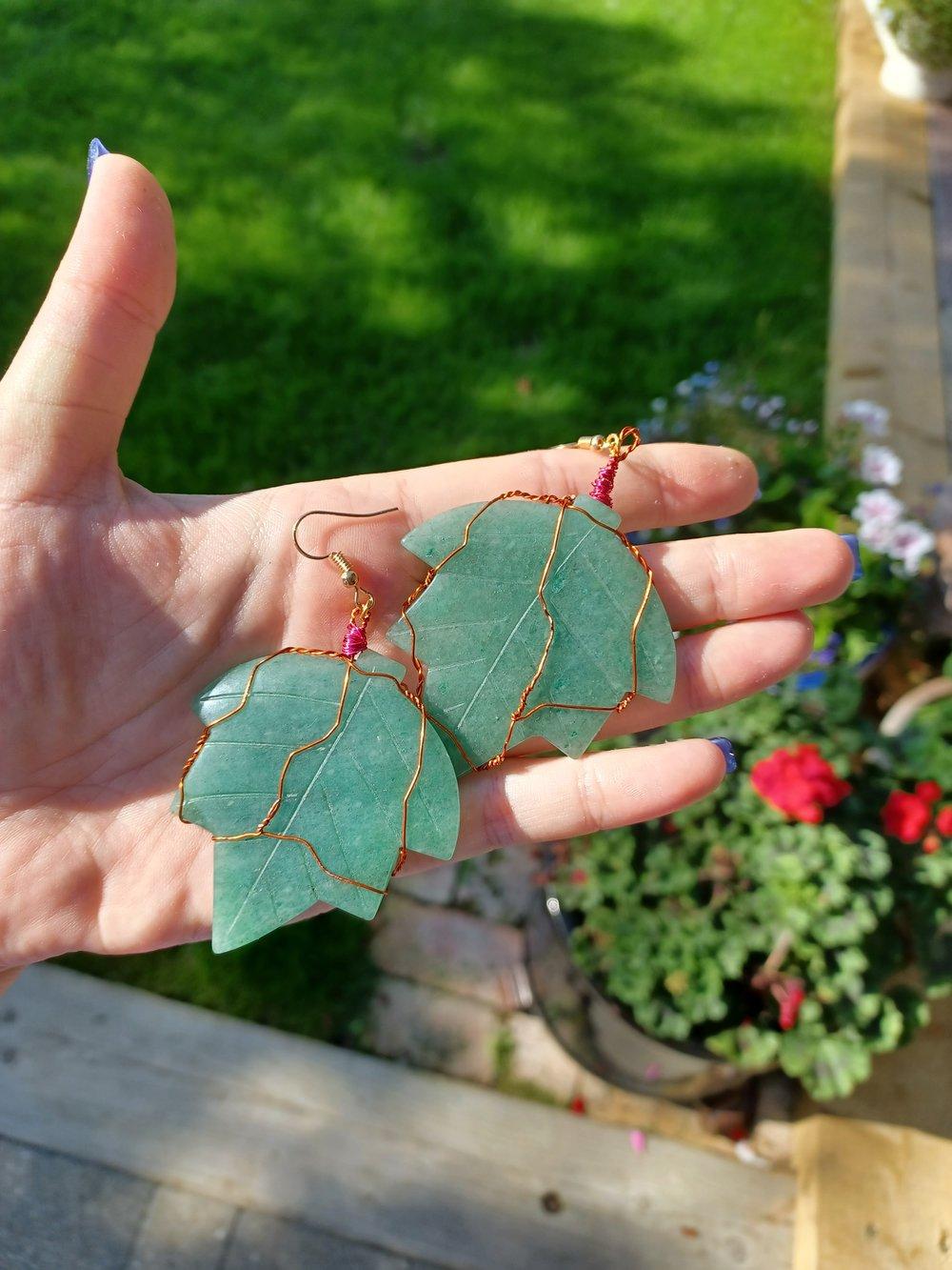 Image of Aventurine Maple Leaf Earrings