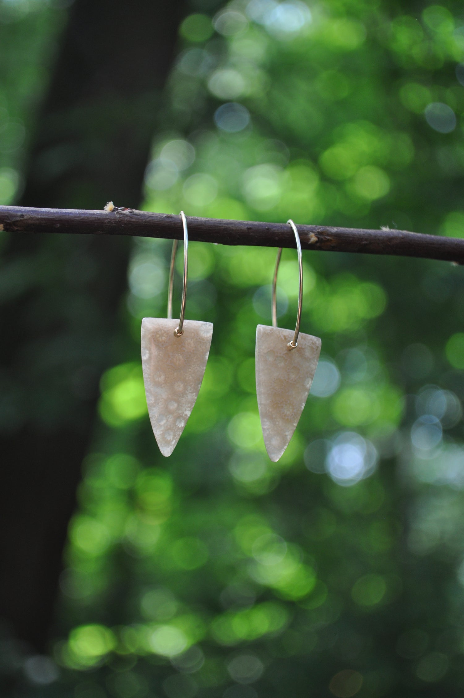 Image of One of a Kind Indonesian Fossil Coral Dangles - Triangular