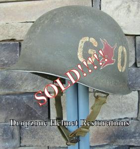 "Image of WWII M-1 Helmet 60th Regiment, 9th Infantry Division ""GO DEVILS"" Front Seam NCO."