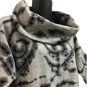 Image of Rome Dress Tunic in calming gray/natural heather fabric  with Hand Painted Design