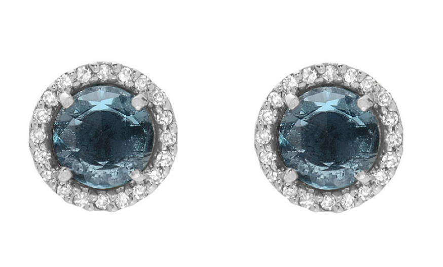 Image of Rose Cut Topaz, Amethyst or Rainbow Moonstone Stud Earrings with Diamonds