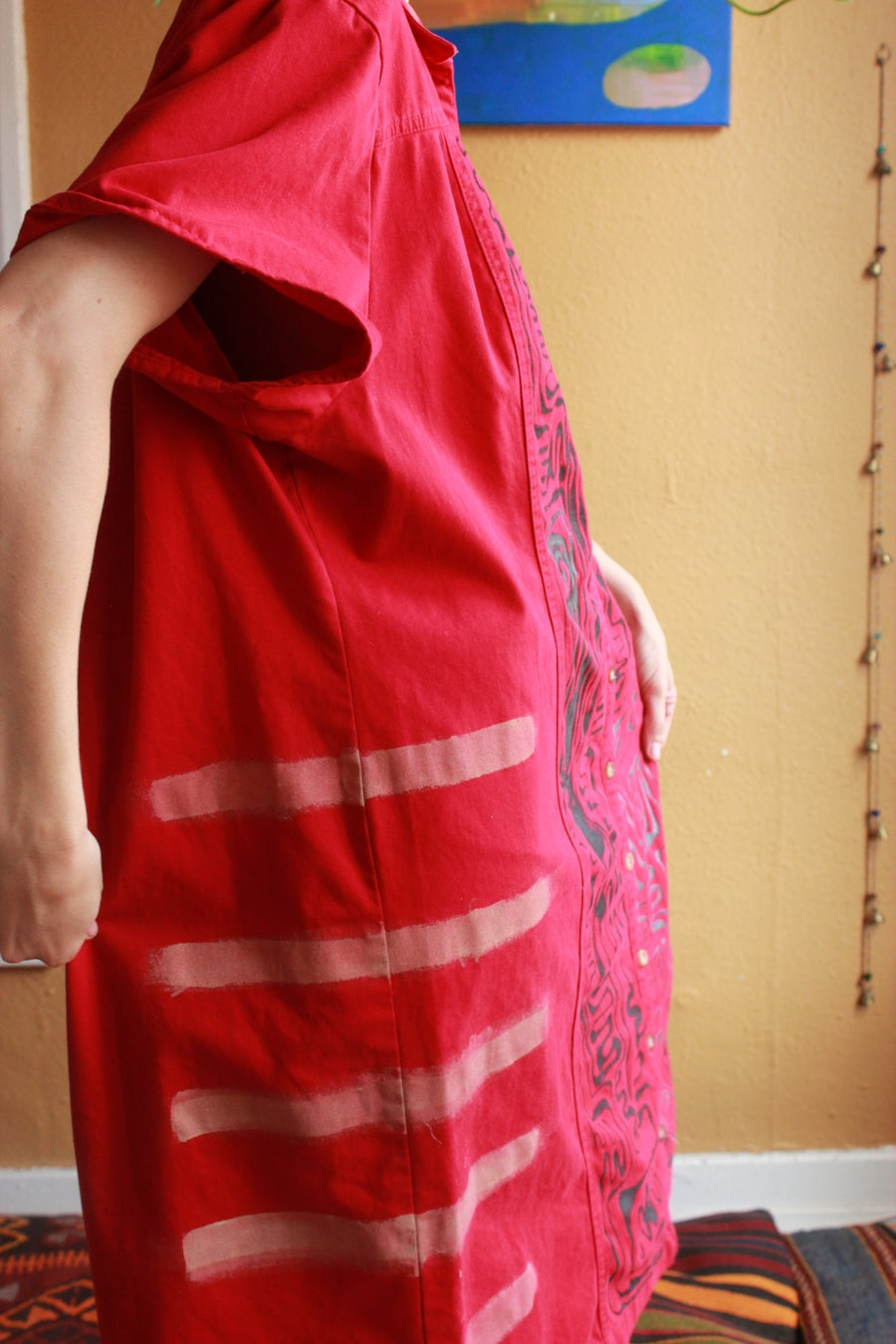 Image of Red Collar Doodle Dress