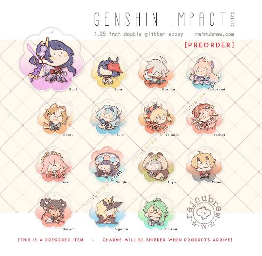 "Image of [PREORDER] *NEW* Genshin Impact - Set 3 | 1.25"" Gatcha Charms"