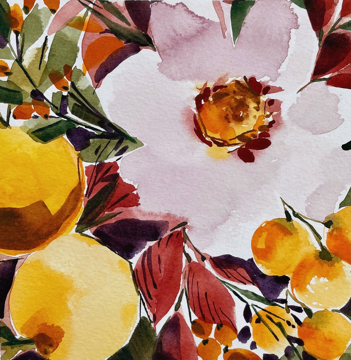 Image of Learn How to Paint Watercolor Flowers & Oranges (LIVE)