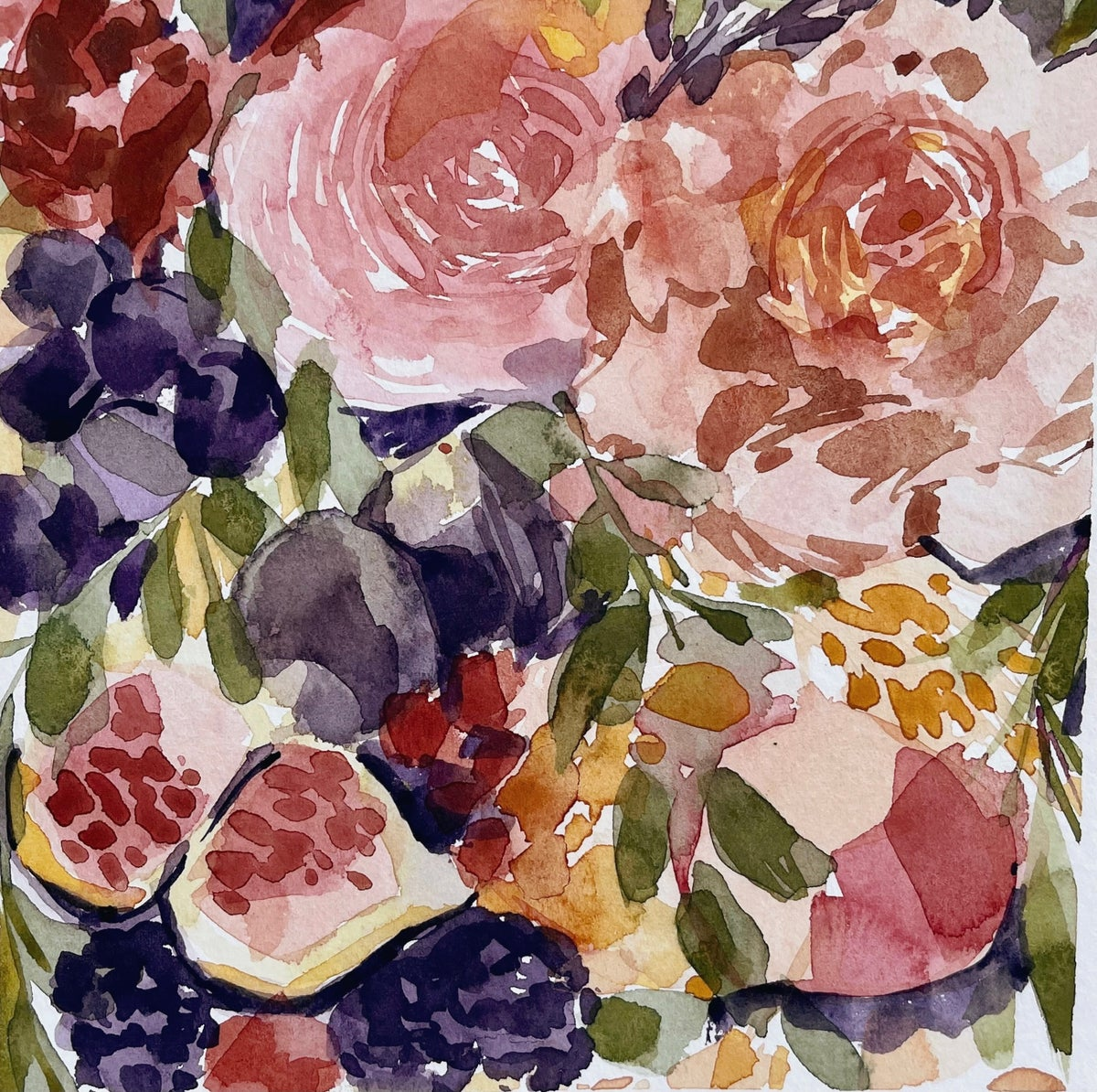 Image of Learn How to Paint Watercolor Flowers, Figs & Peaches (NOT LIVE)