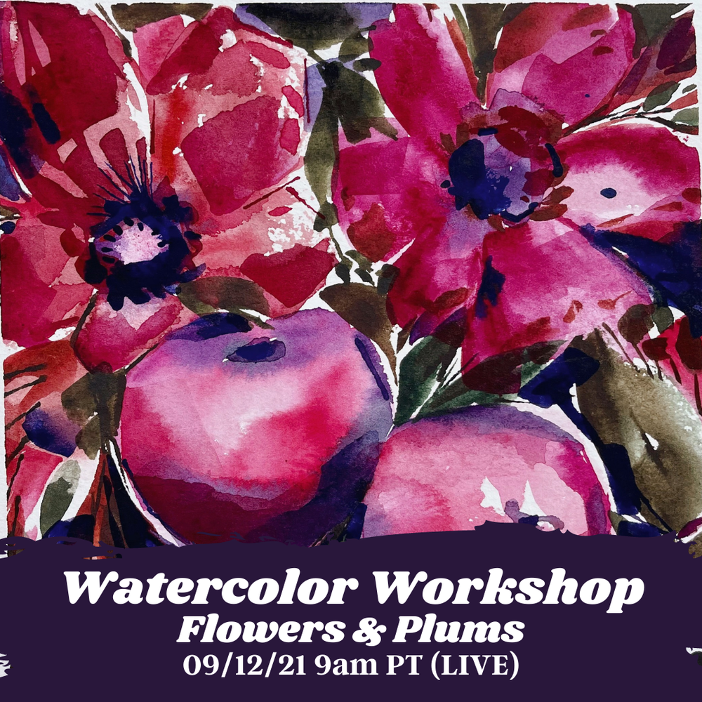 Image of Learn How to Paint Watercolor Flowers & Plums (LIVE)
