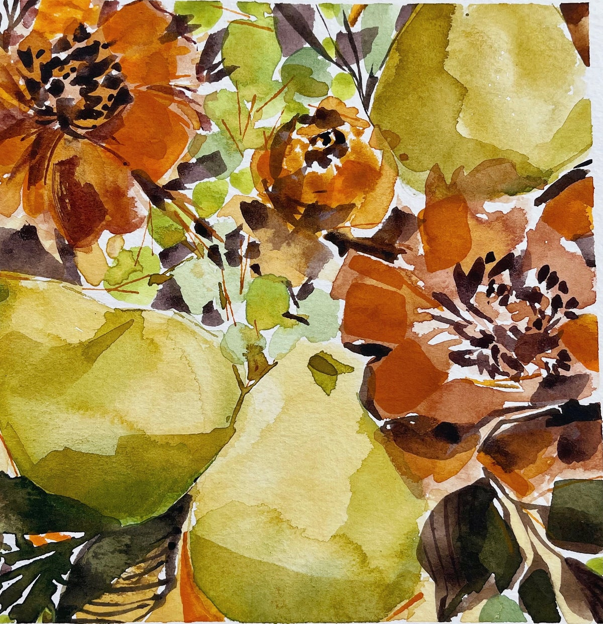 Image of Learn How to Paint Watercolor Flowers & Pears (LIVE)