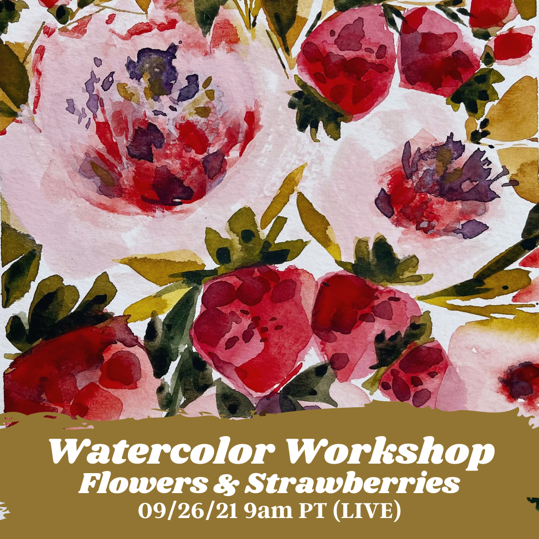 Image of Learn How to Paint Watercolor Flowers & Strawberries (LIVE)
