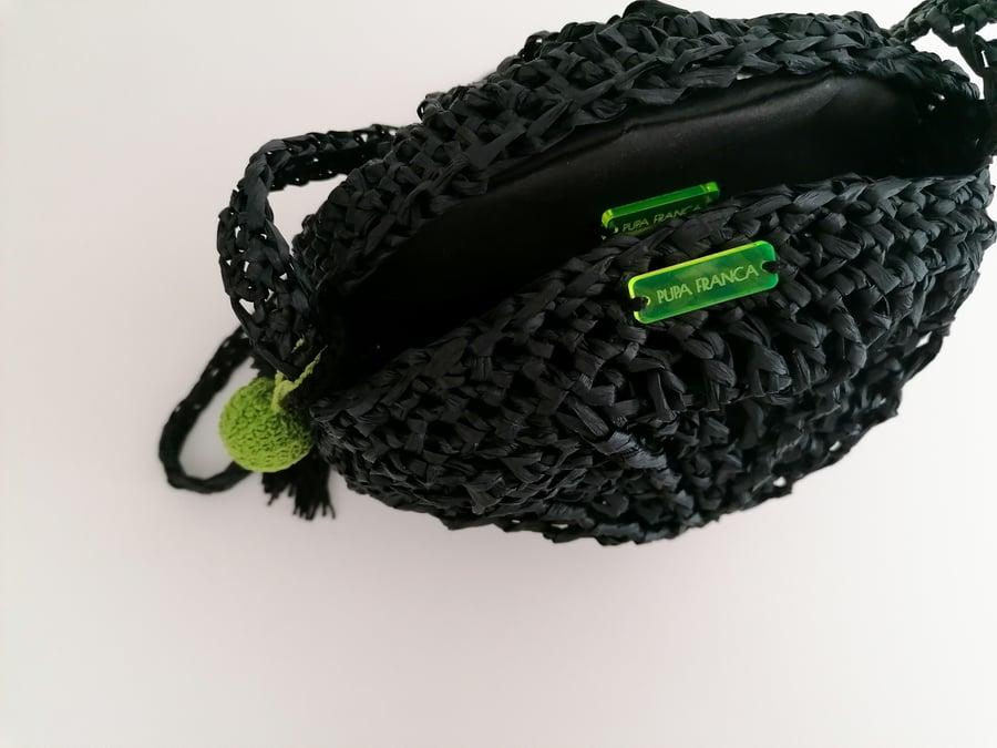 Image of Small Cross-Shoulder Raffia Bag in Black