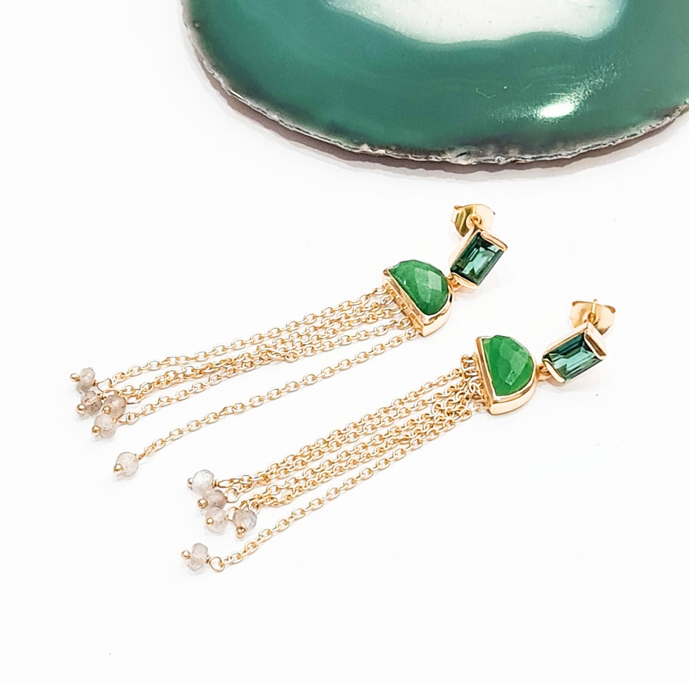 Image of Green Tourmaline, Green Onyx and Labradorite Chandelier Earrings