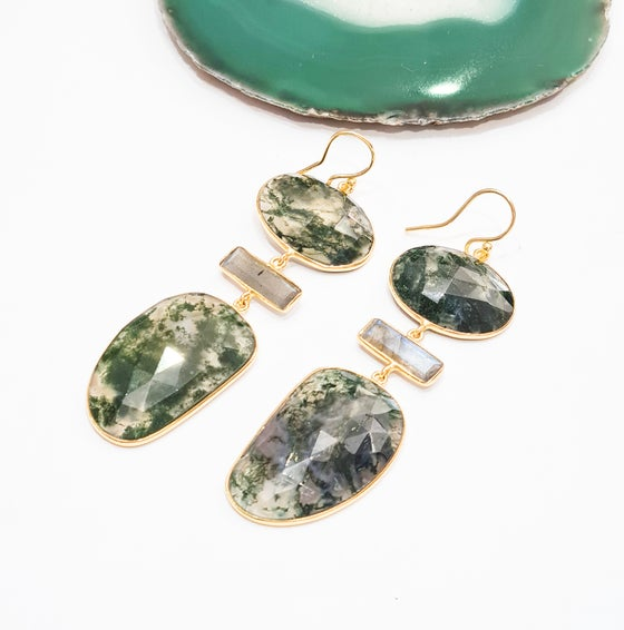 Image of Moss Agate and Labradorite Statement Earrings