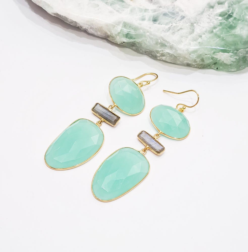 Image of Aqua Onyx and Labradorite Statement Earrings