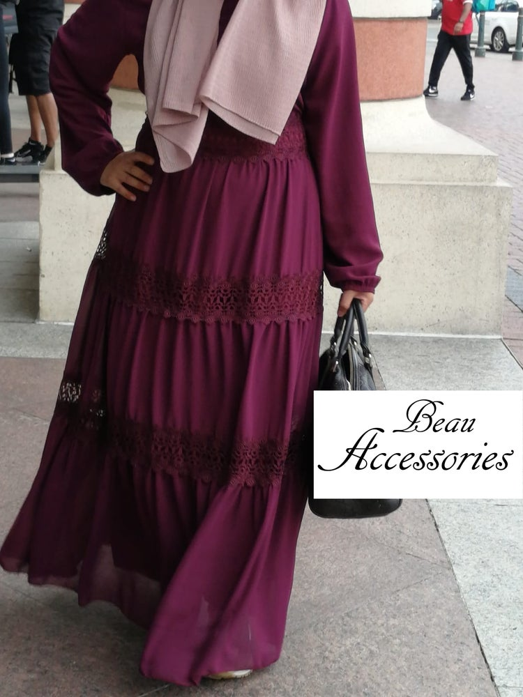 Image of Burgundy Lace Maxi Dress