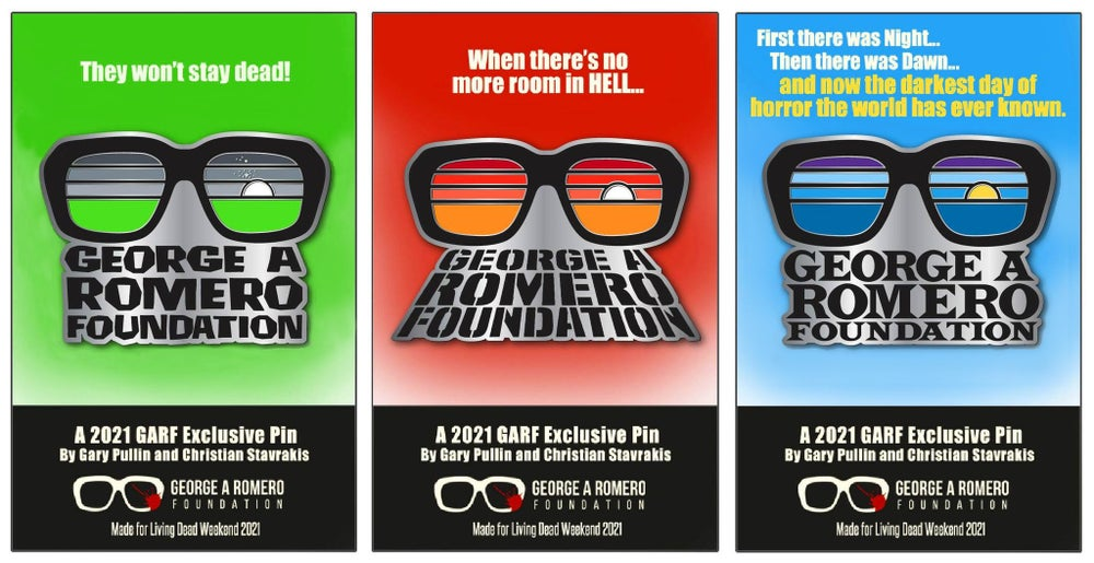 Image of George A. Romero Foundation collector pins.