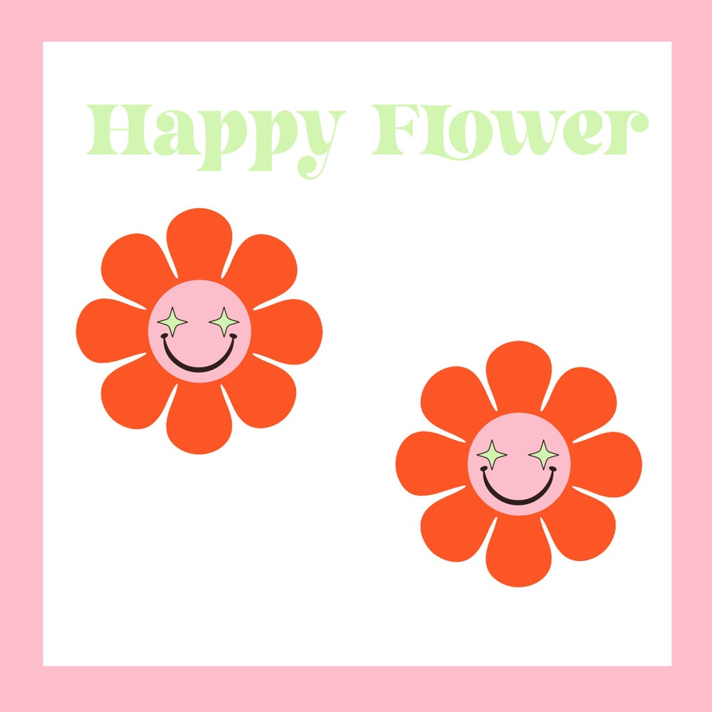 Image of Happy flower hoop earrings