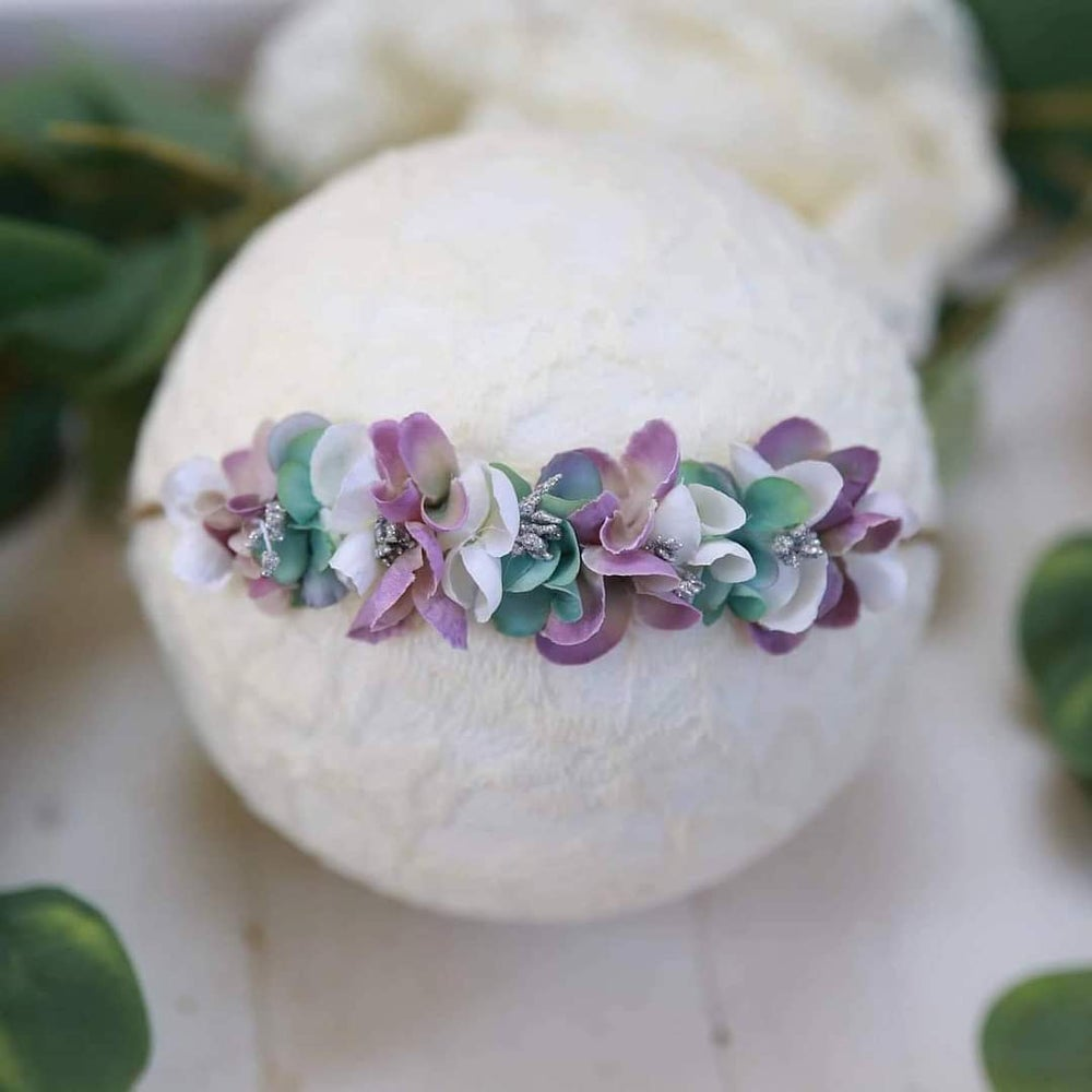 Image of Mini halo blanc violet et mint