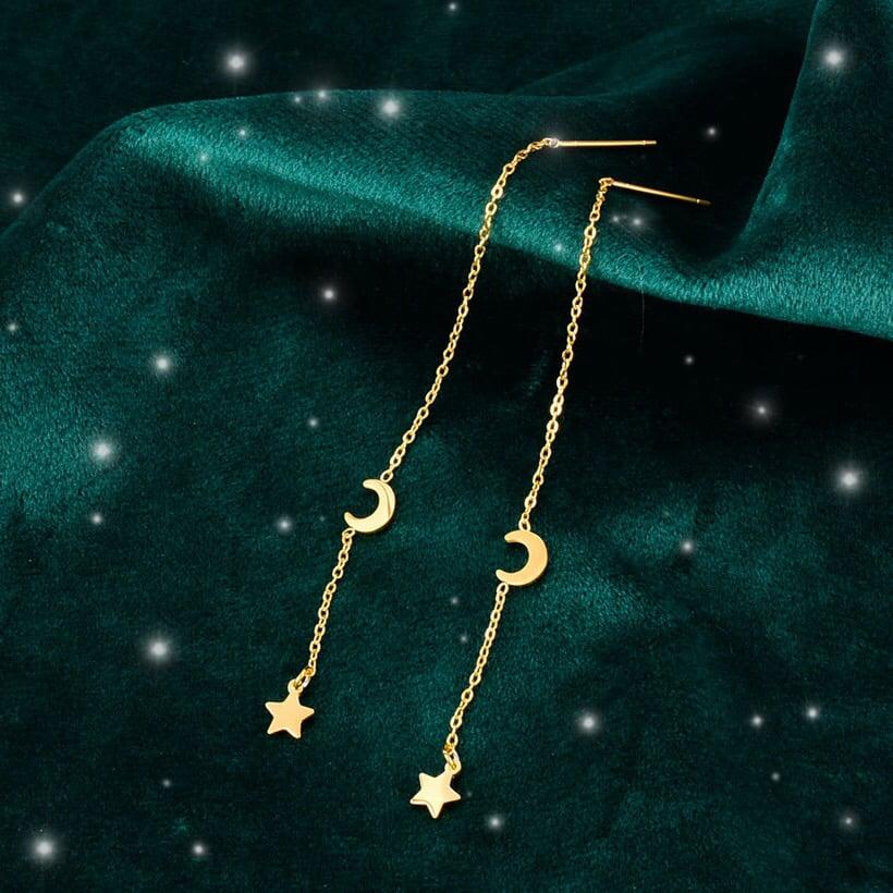 Image of Dainty Star & Moon Earrings