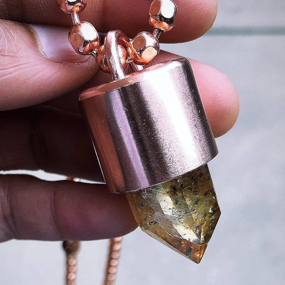 Image of Citrine Crystal Key Necklace