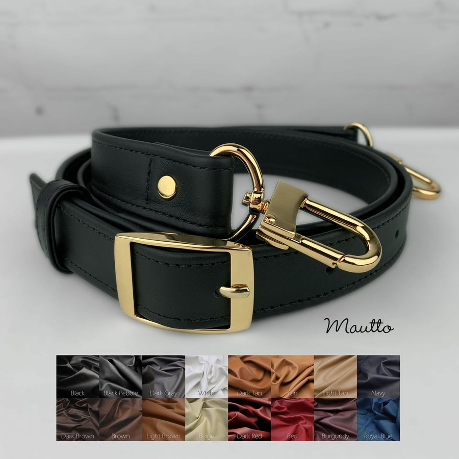 """Image of Crossbody Adjustable Buckle Strap - 1"""" Wide, #16XLG U-shape Hooks - Choose Leather & Hardware Finish"""