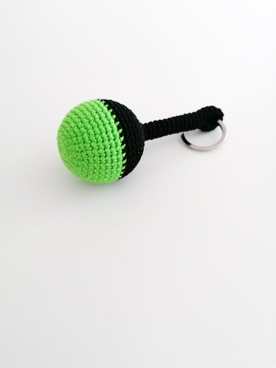 Image of Keychain in Black and Neon Green