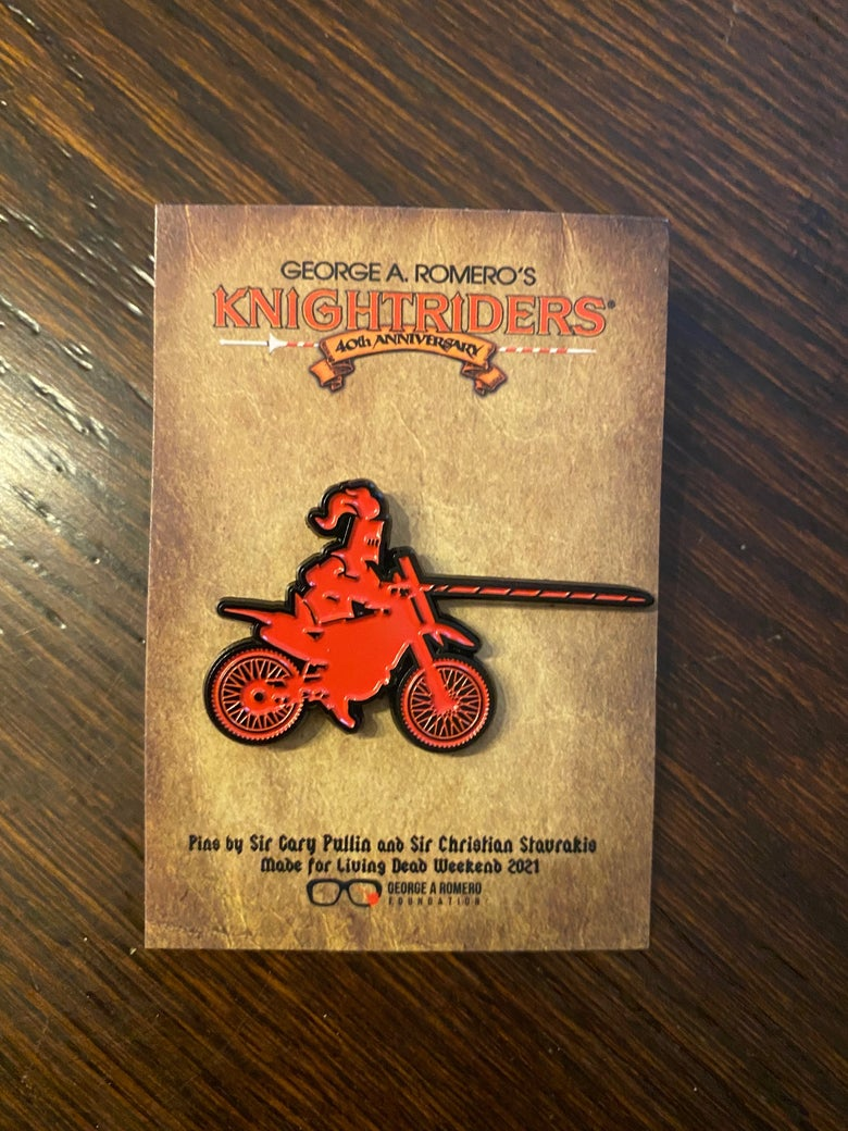 Image of George A. Romero's Knightriders 40th (XL) Anniversary pin collection