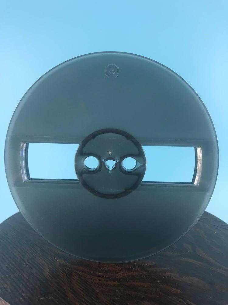"Image of Burlington Recording 1/4"" x 5"" Smoky Grey Heavy Duty Small Hub Plastic Reel in White Set Up Box NEW"