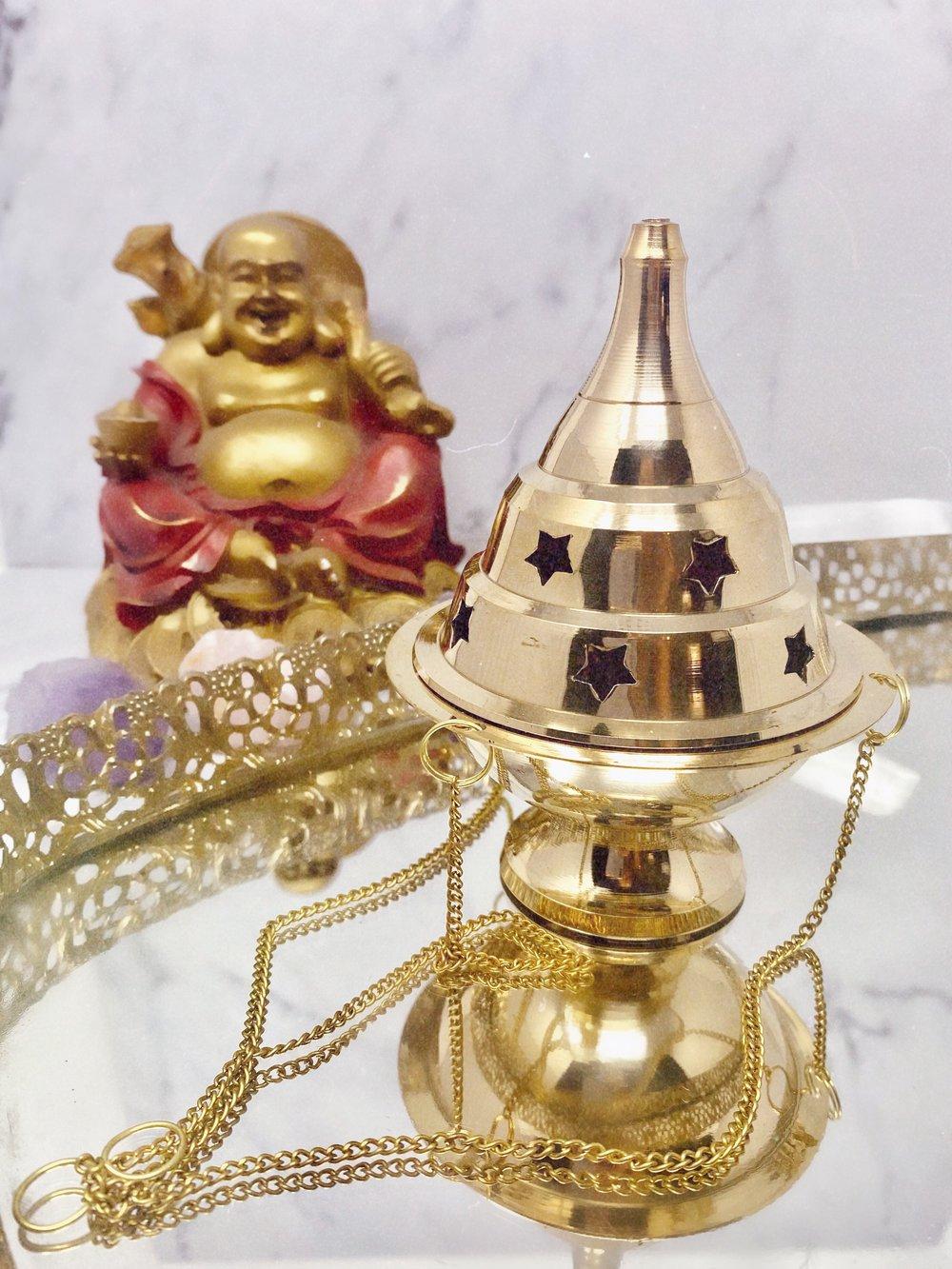 Image of Hanging Star Brass Incense Burner
