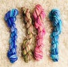 Hand Dyed Wool 8ply, Each 25grams- Purple Meets Blue, Landscape, Pink Lollipop and Lagoon Blues