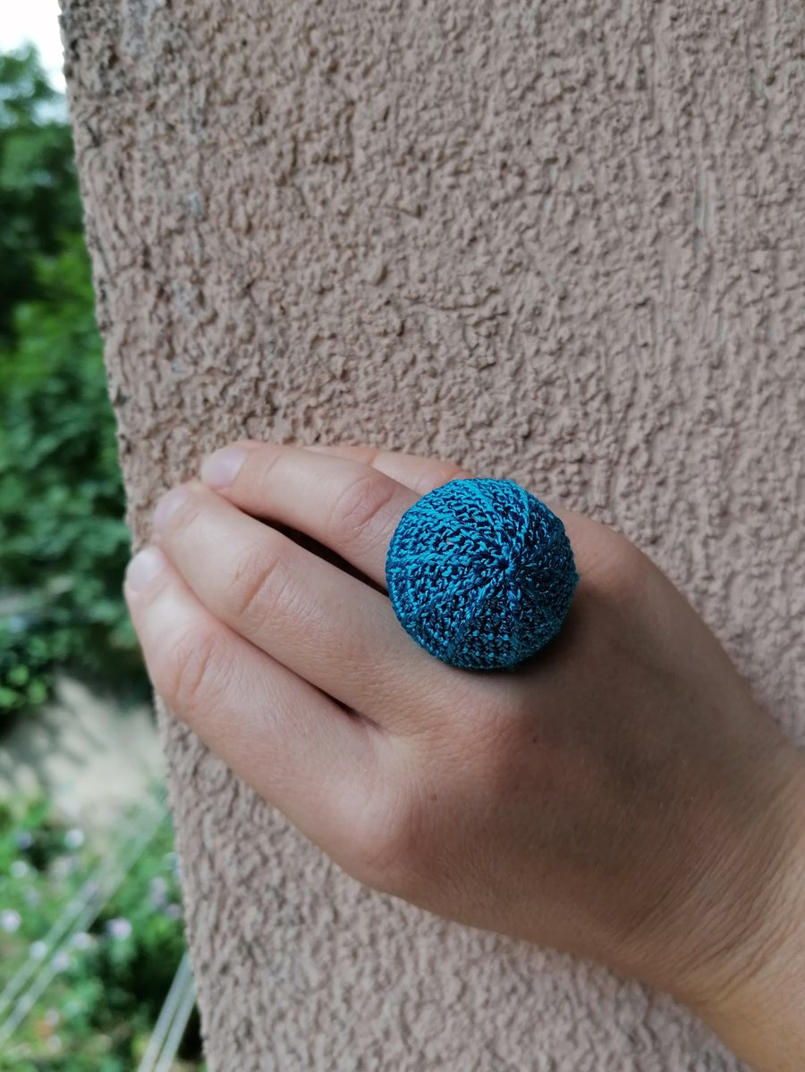 Image of Turquoise Crochet Ring, Large Size