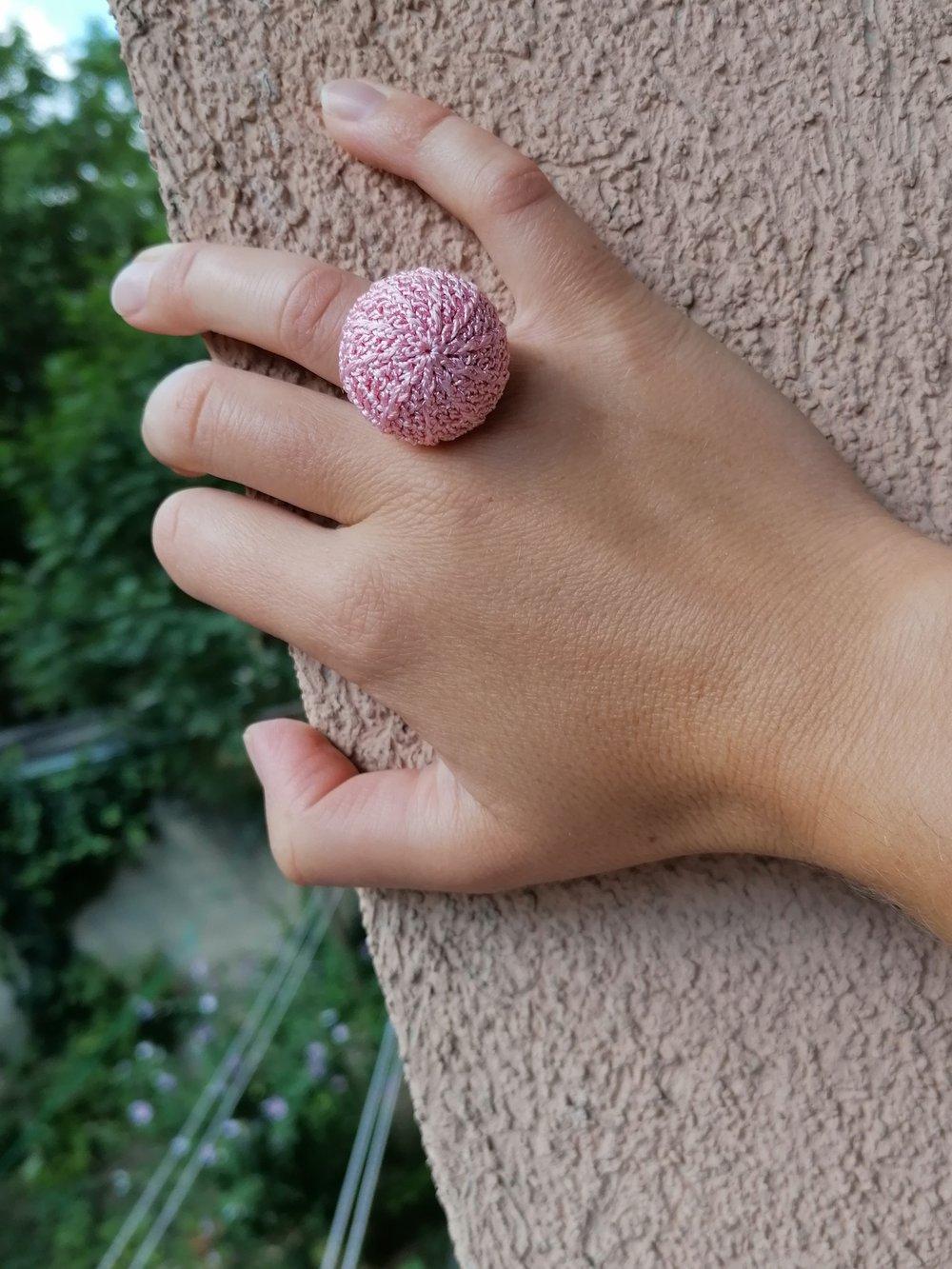 Image of Pink Crochet Ring, Medium Size